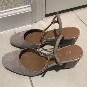 Calvin Klein size 8 gray silver block heels